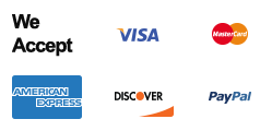 We Accept Visa, Master Card, American Express, Discover and PayPal