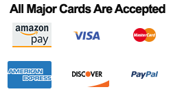 We Accept Visa, Master Card, American Express, Discover, Amazon and PayPal